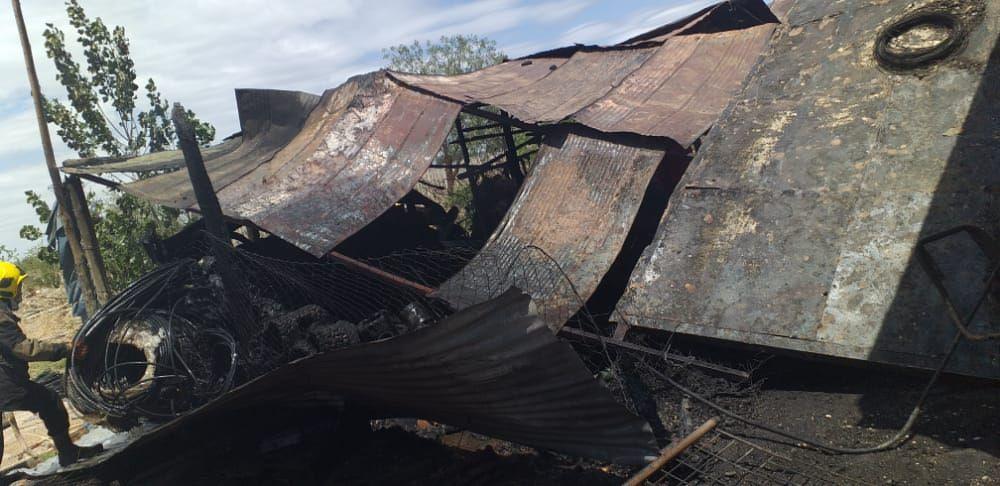 Incendio en una finca en Pocito