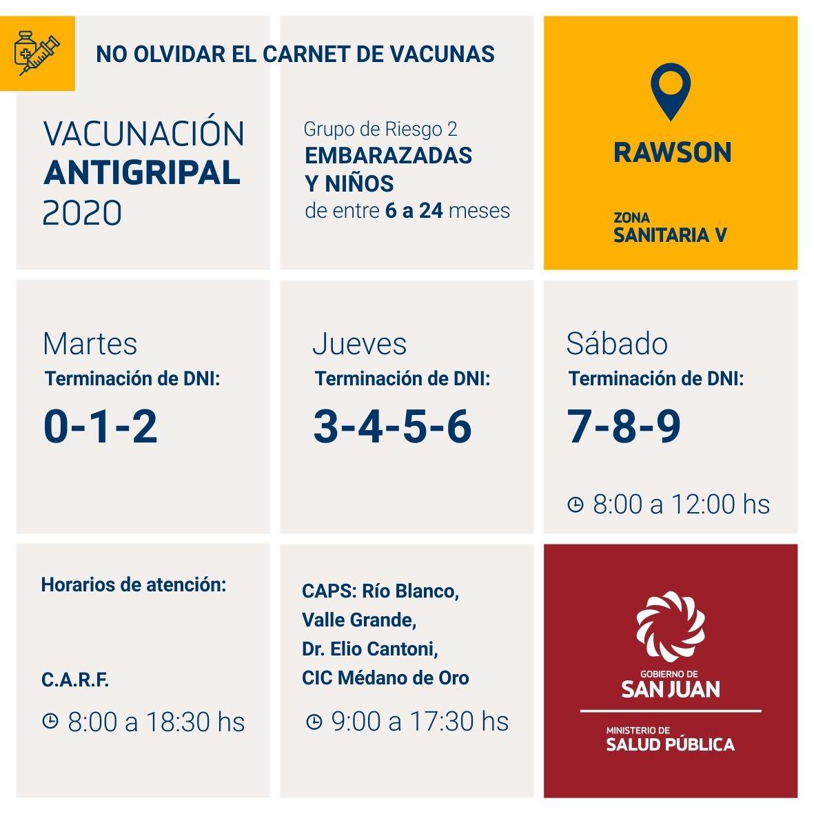 Cuarentena administrada: calendario de vacunación antigripal por departamento