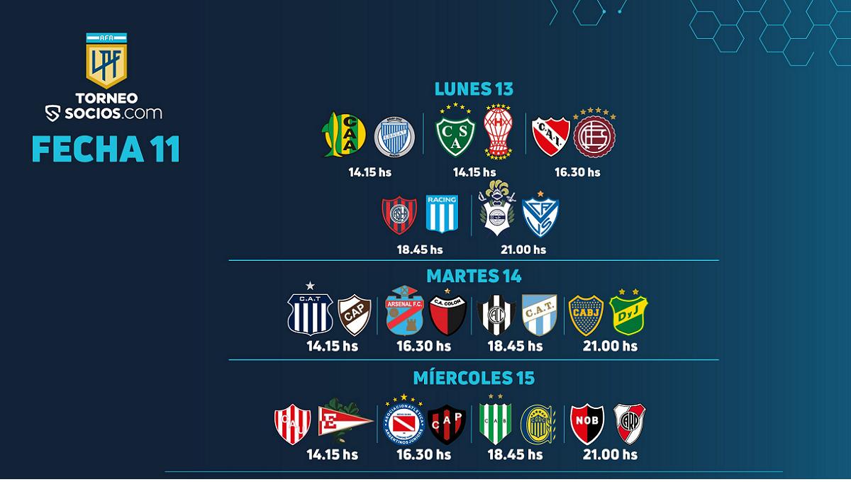 La fecha 11 de la Liga tendrá cinco partidos este lunes