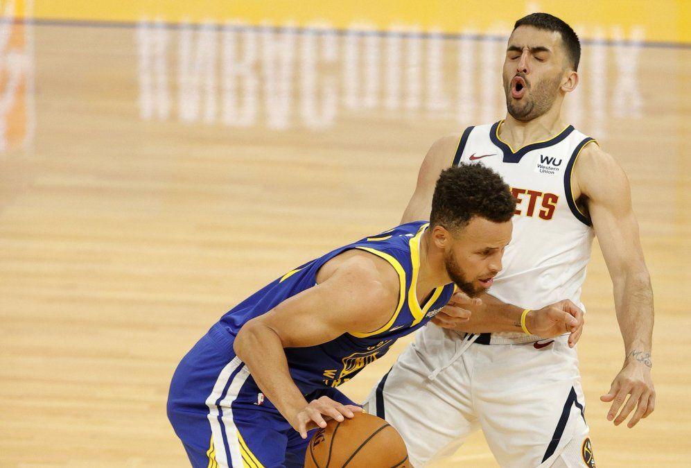 Curry y Campazzo tuvieron un áspero duelo en el cierre del partido.