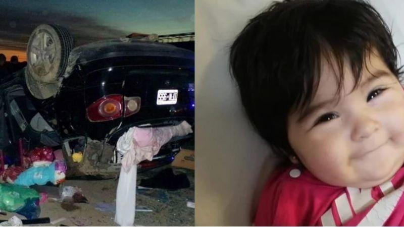 Volcaron en la ruta, su beba salió despedida del auto y la hallaron ilesa y sonriendo