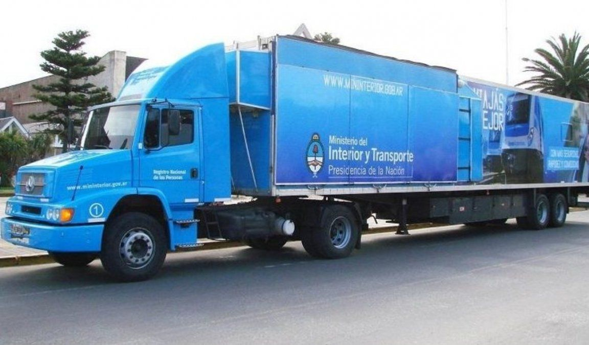 El camión del DNI se trasladará al Parque de Mayo y luego a Caucete