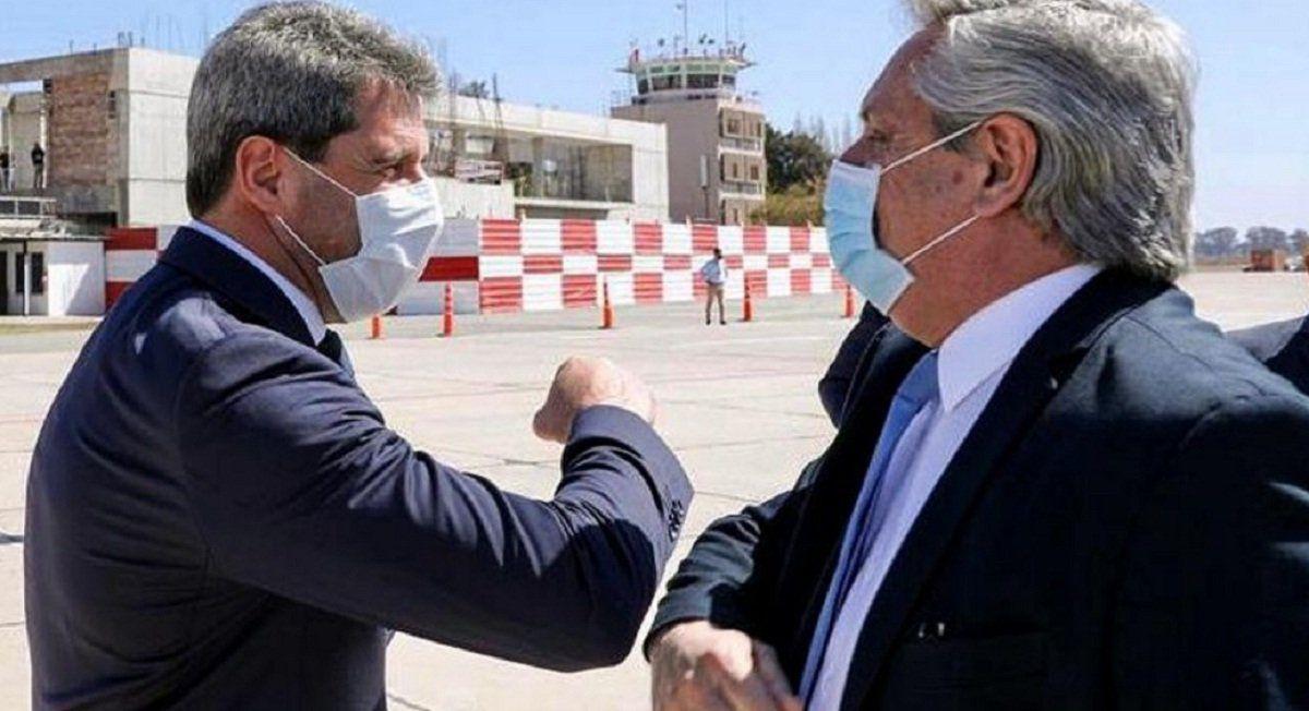 Uñac le brindó su apoyo al presidente Alberto Fernández.