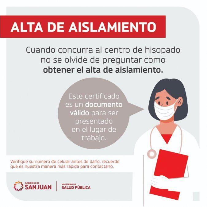 Consultar por el alta de aislamiento tras cumplir los días por PCR o test antígeno