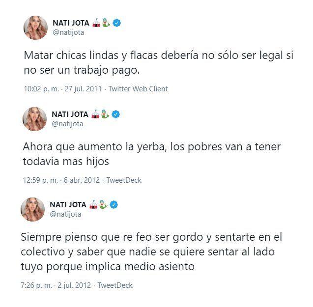 Nati Jota pidió disculpas por sus tuits racistas y discriminatorios