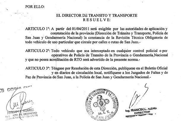 Revisión técnica: desde esta nota descargá la resolución de Tránsito