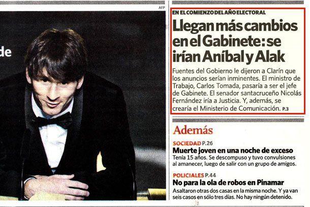 El diario Clarín insiste en que Aníbal F. dejaría el Gobierno