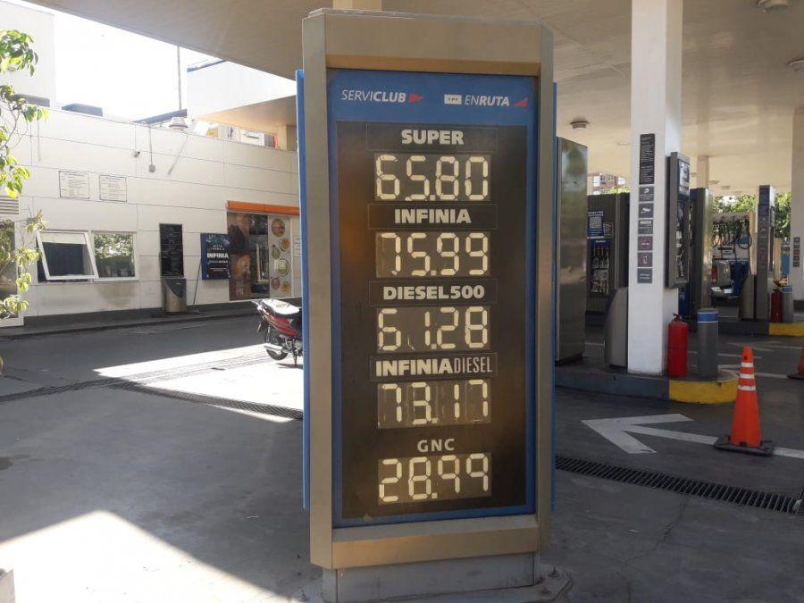 En San Juan, la nafta llegó a los $65,80 tras la suba de YPF