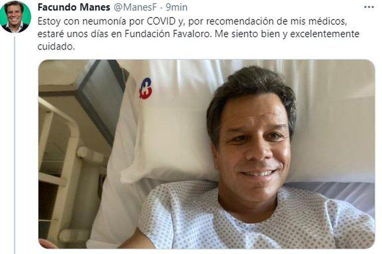 Internaron a Facundo Manes por contagiarse de COVID-19