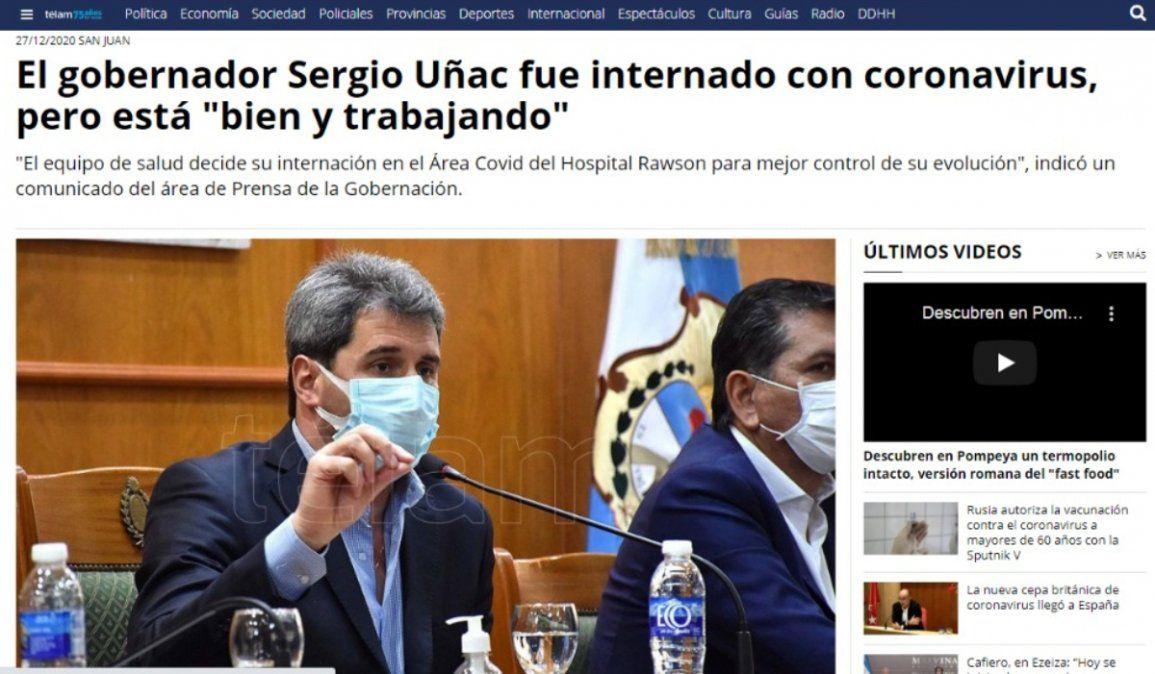 Portada de Télam sobre la internación de Sergio Uñac.