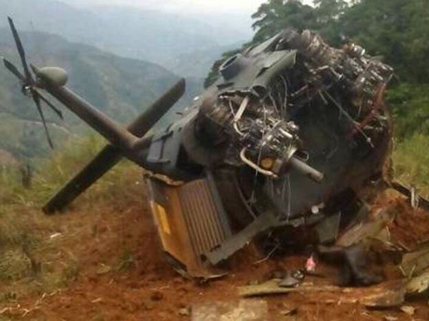 Cuatro personas murieron al explotar un helicóptero militar colombiano