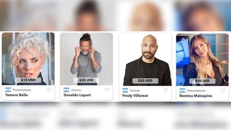 Famosos argentinos cobran en dólares por un saludo personalizado