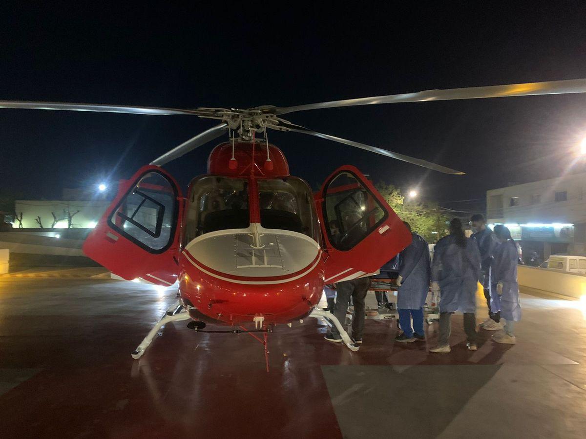 Tuvo un accidente y lo trasladaron en el helicóptero hasta el hospital Rawson
