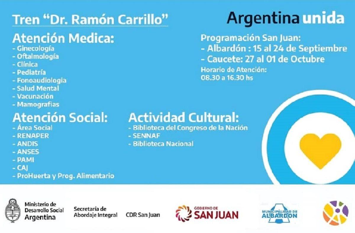El Tren de Desarrollo Social y Sanitario Dr. Ramón Carillo llegó a Albardón.