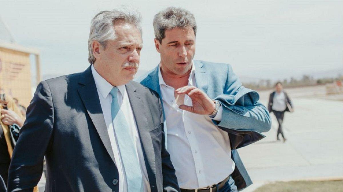Alberto Fernández junto a Sergio Uñac.