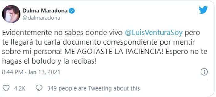 Dalma Maradona denunciará a Ventura: Me agostaste