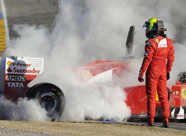 Arrancó mal el año para Ferrari: Massa quemó el motor del nuevo auto