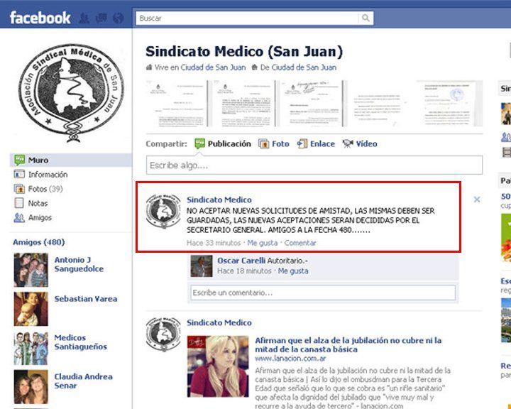 El Sindicato Médico no acepta a cualquiera en su Facebook