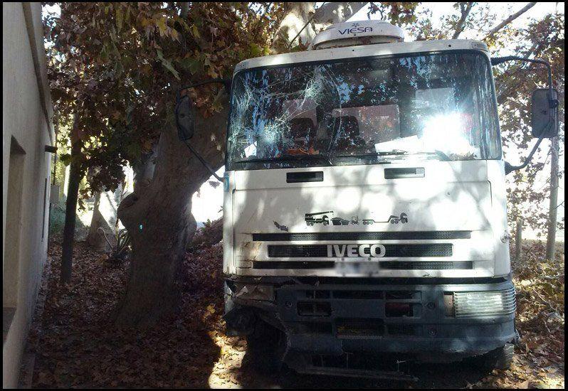 El chofer de un camión contenedor grave luego de perder el control de la movilidad
