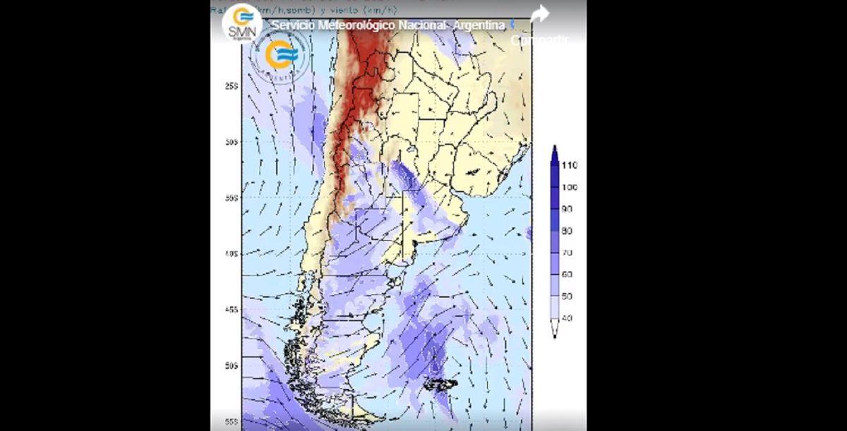 San Juan y otras 10 provincias en alerta amarilla por fuertes vientos