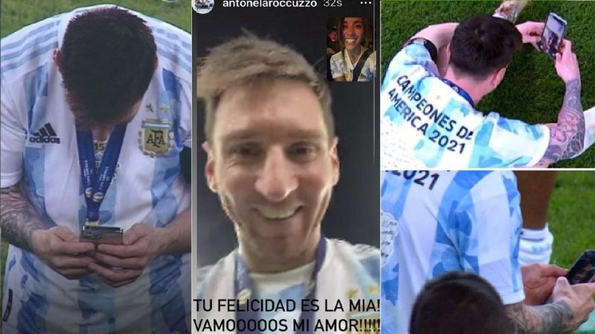 Messi y la videollamada con su familia desde la cancha y el mensaje de Antonela