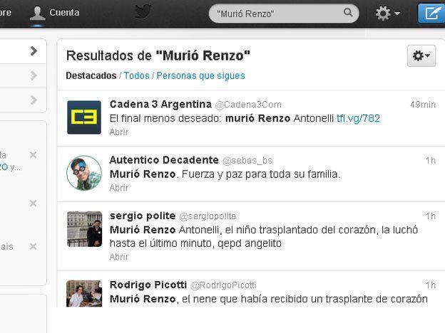 El país mostró su dolor por la muerte de Renzo a través de Twitter