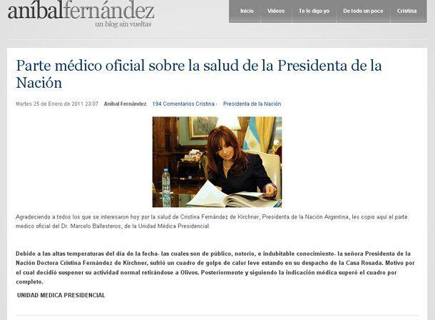 Anibal Fernández mostró en su blog y en Twitter el parte médico sobre la salud de Cristina tras una lipotimia