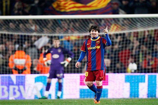 Messi marcó tres goles y el Barça un nuevo record