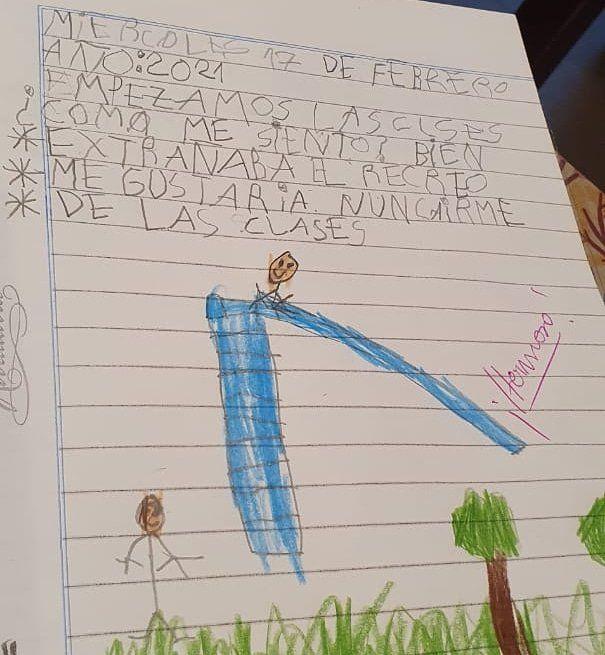 El dibujo y la frase del nene en la vuelta a clases.