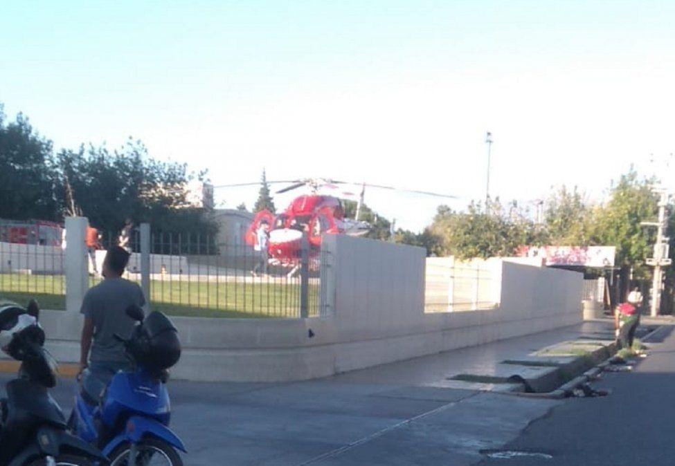 Trasladaron en helicóptero a un niño de 12 años en grave estado