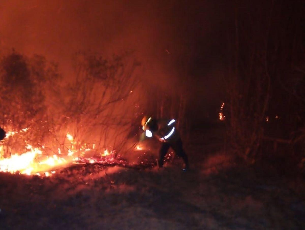 Bomberos Voluntarios de Pocito salvaron dos viviendas en Médano de Oro.