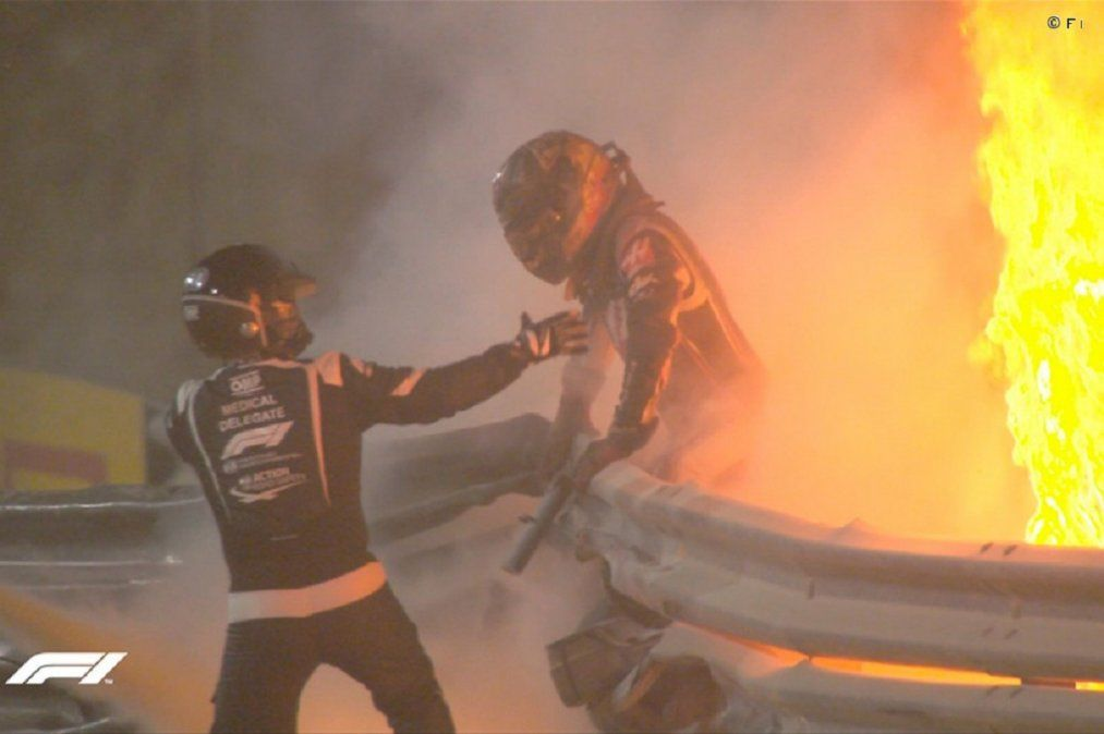 La impactante imagen de Grosjean tras el brutal choque en la Fórmula 1