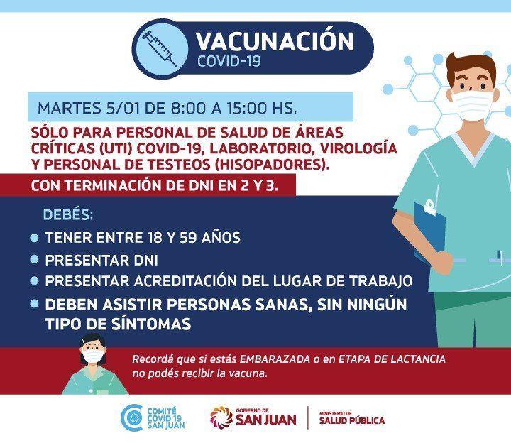 Cómo sigue la vacunación en San Juan y a qué grupo inoculan