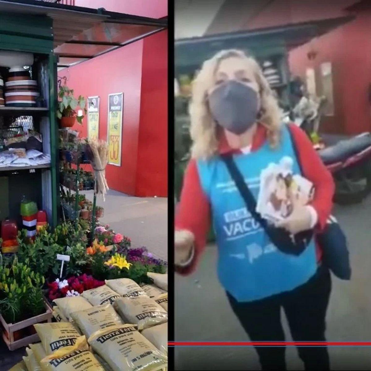 Una mujer repartió boletas del Frente de Todos con una pechera de Salud