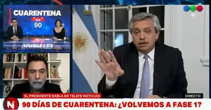 Cristina Pérez y Alberto Fernández  tuvieron un tenso cruce en vivo