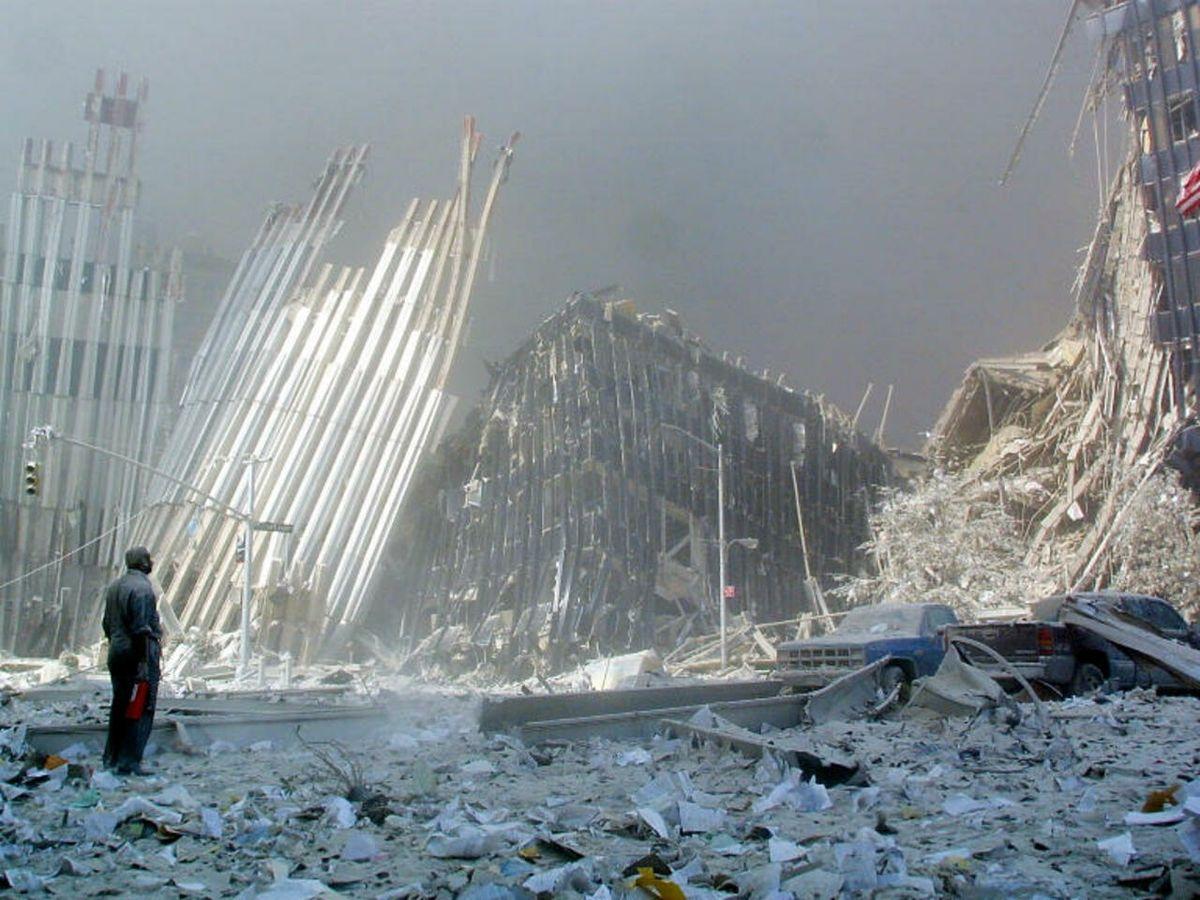 Los restos de las Torres Gemelas después del 11-S.