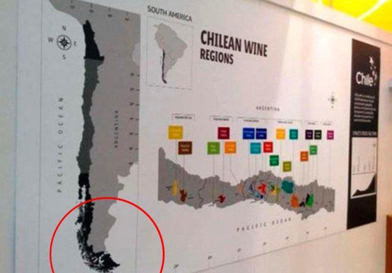 Polémica por un mapa que incluye a Tierra del Fuego como territorio chileno