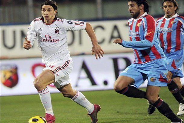 El Milán se impuso por 2 a 0 en su visita al Catania