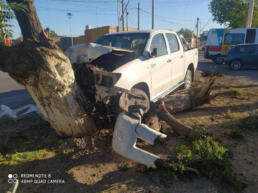 Conducía ebrio y terminó chocando contra un árbol