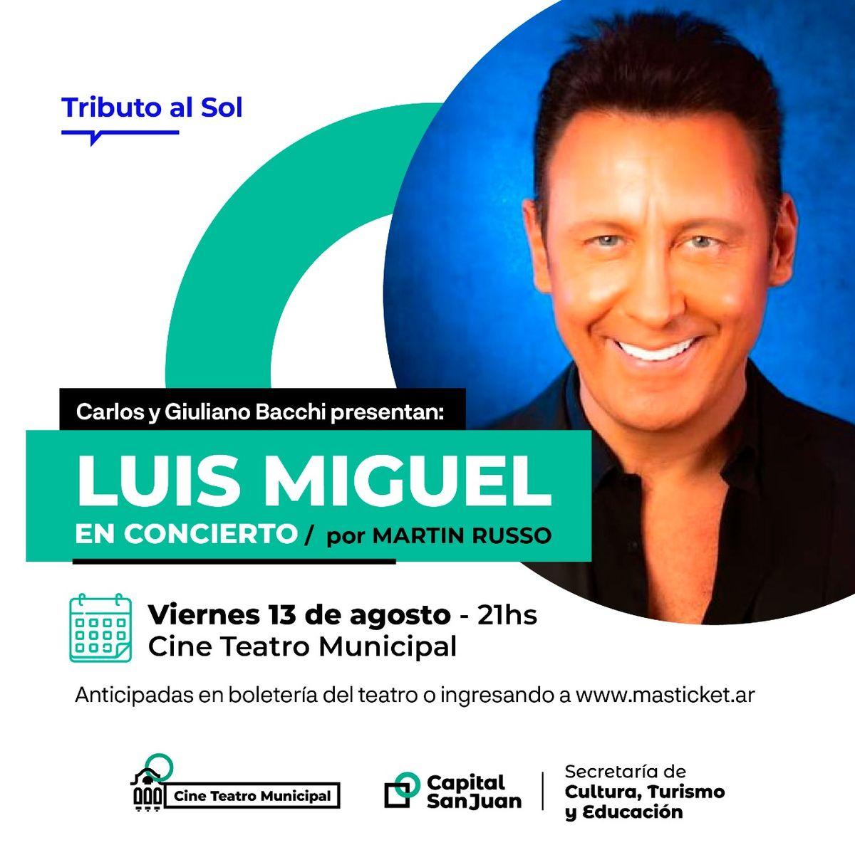 Concierto tributo a Luis Miguel en el Cine Teatro Municipal