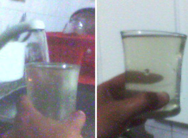 Lectores de sanjuan8.com enviaron fotos mostrando cómo sale turbia el agua de la canilla