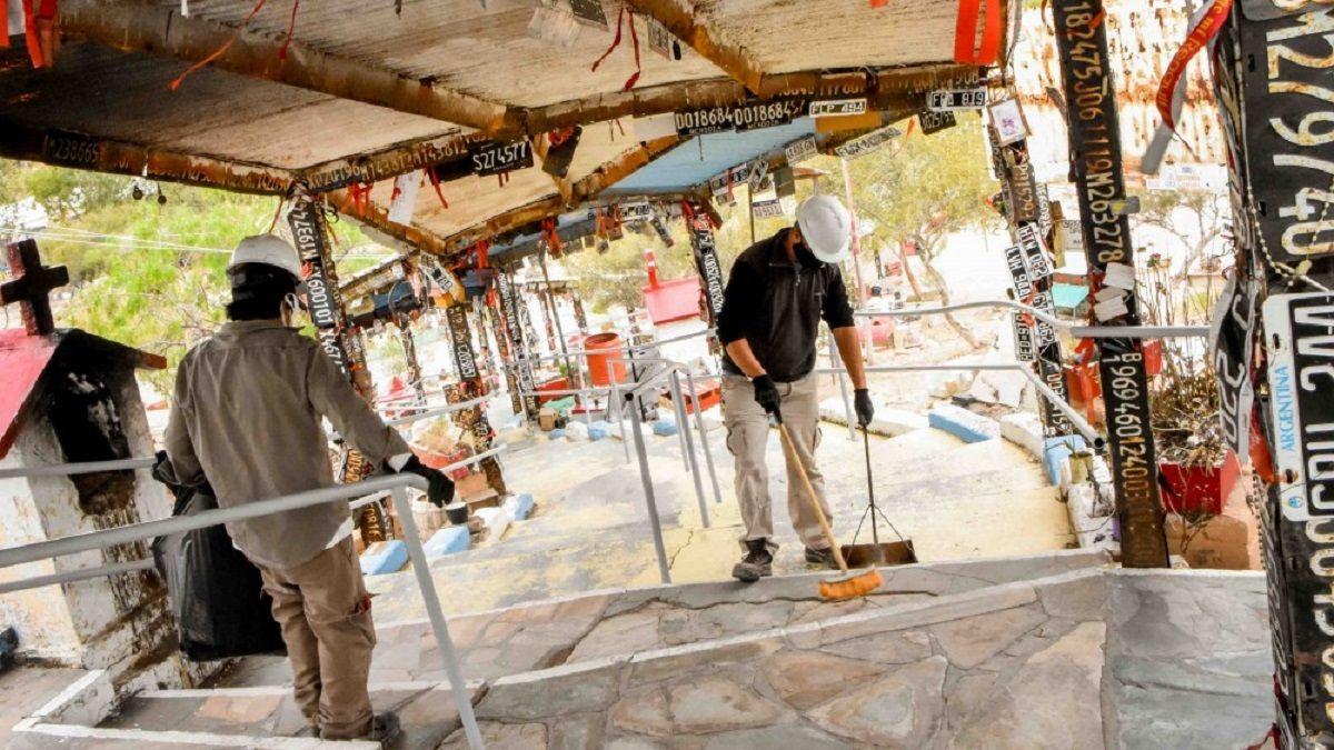 Difunta Correa: avanzan las obras de mejoramiento del paraje