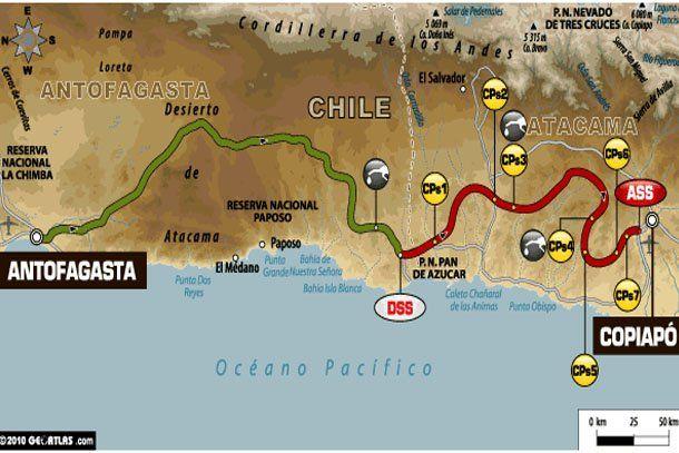 Este es el recorrido de la dura y extensa 8ª etapa del Dakar 2011