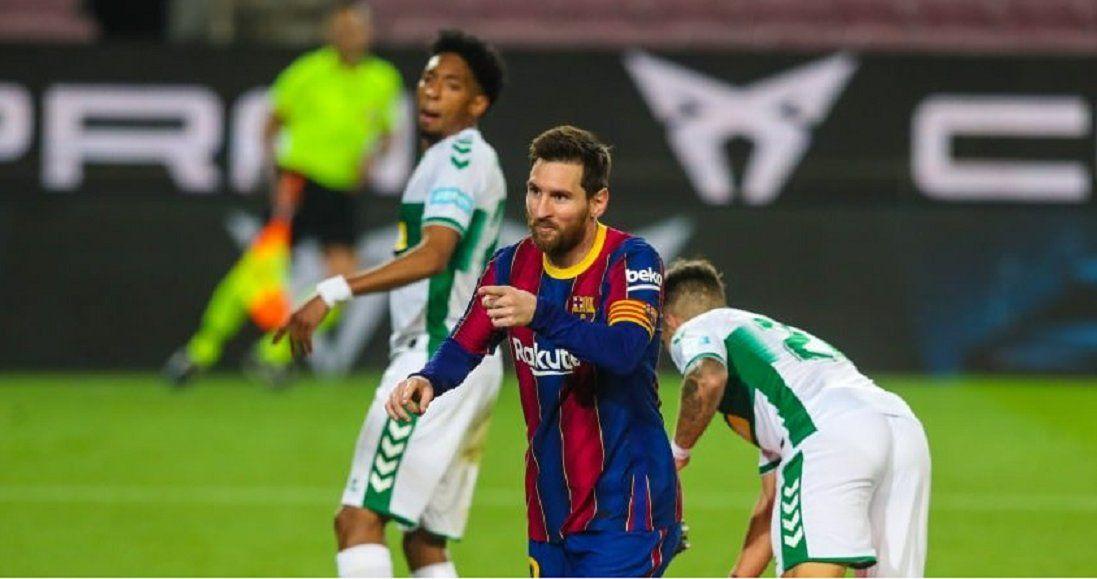 Messi anotó un doblete en el triunfo del Barsa.