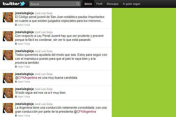 En su twitter Gioja apoyó la reelección de Cristina y dijo que hay que contener a los menores delincuentes